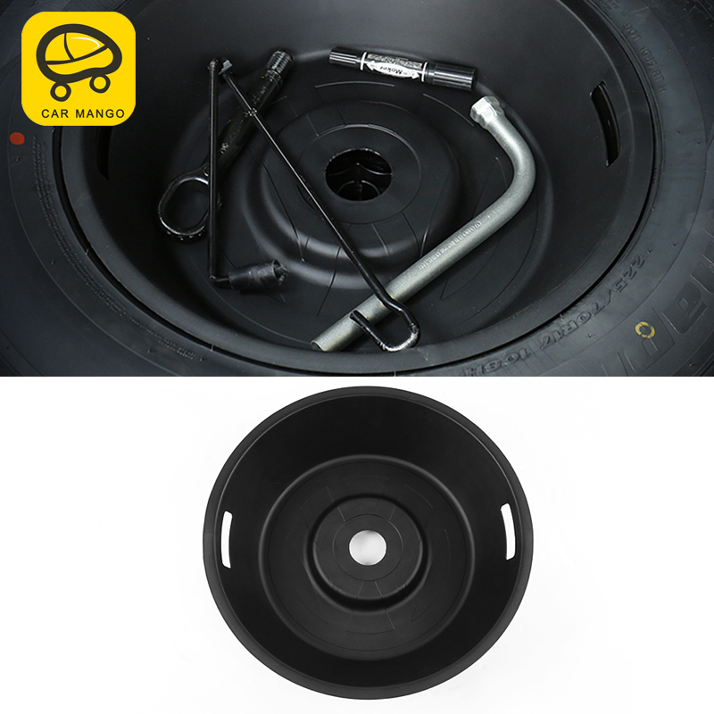 CARMANGO for VW Volkswagen T ROC 2018 2019 Auto Car Styling Trunk Storage Box Round Spare Tyre Case Trim Interior Accessories|Stowing Tidying|   - title=