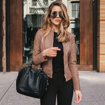 New Women Faux Leather Pu Jacket Coat Female Long Sleeve Black Streetwearmotor Jacket Coat Zip Biker Short Basic Jacket Feminino