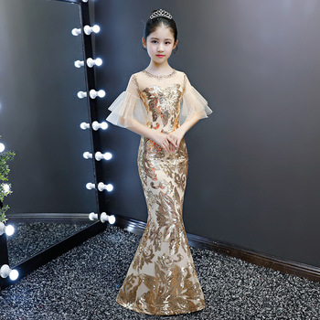 Kid luxury sequined evening dress children girl gold bodycon trumpet elegant mermaid wedding party Cocktail chinese style dress