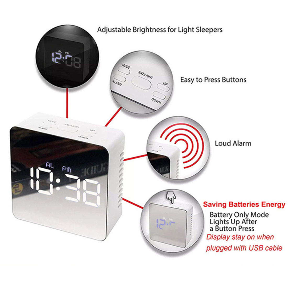 Desk Travel Digital LED Mirror Surface Snooze Electronic Clock Time Loud Alarm