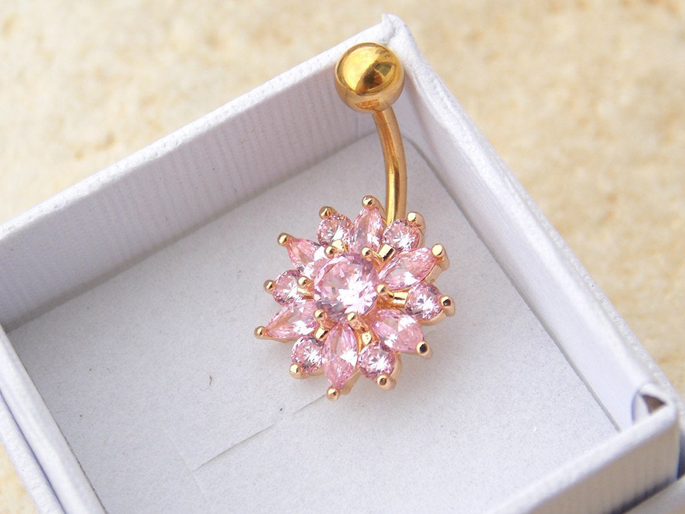 H78c7a2474f8d4b28948b0a439ac127903 Navel Piercing Body Jewelry Crystal Flower Belly Button Ring