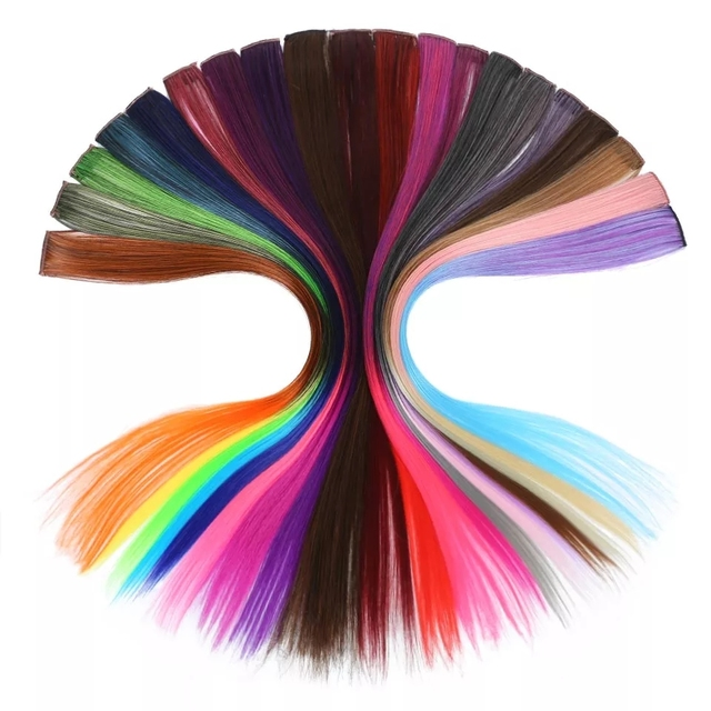 Extensiones extension cheveux de Cabello MUMUPI de color liso y largo con Clip para resaltar la raya del pelo del arco iris de pelo sintético Rosa hebras en Clips
