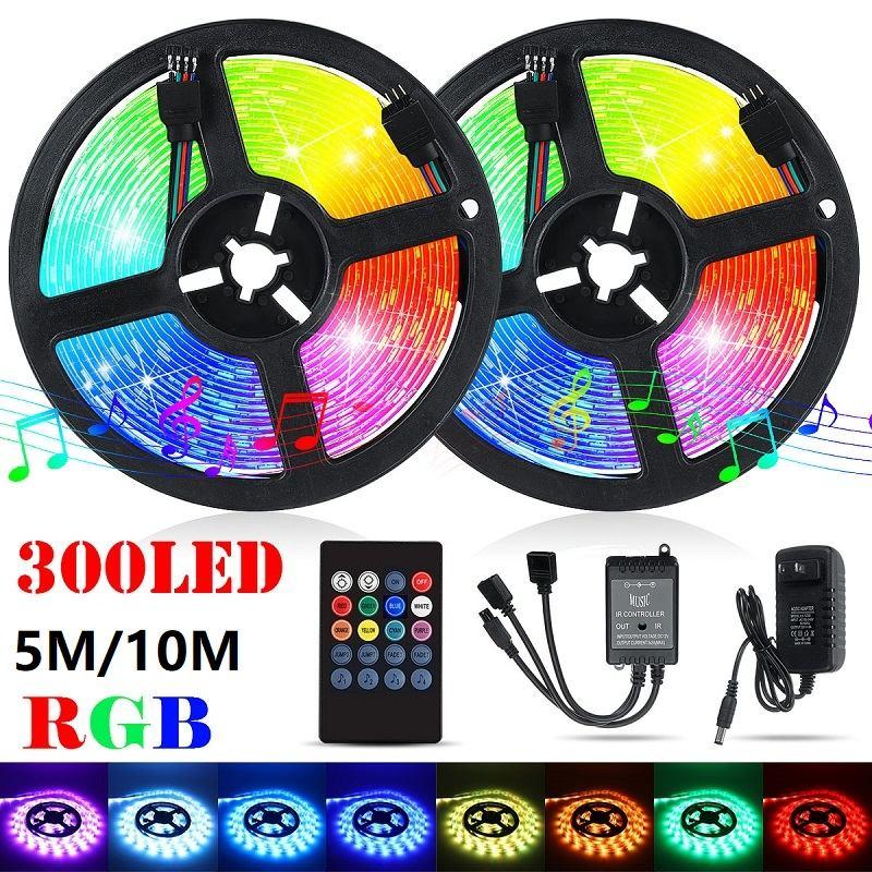 5M/10M LED Strip Light Waterproof IP65 Outdoor DC12V 5050 RGB Music Lamp IR Remote Control +EU US Plug