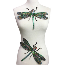 2pc Dragonfly Sequin Embroidery Patch Embroidered Applique Insect Patches For Clothing Appliques Parches Sew On 28x22cm 1pc landscape embroidered patches for clothing sew on tree embroidery parches for backpack clothing applique decoration badge