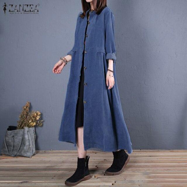 Plus Size ZANZEA Spring Long Cardigan Women Casual Solid Long Sleeve Work Denim Blue Shirt Vestido Blouse Outwear Coats Tunic 7 2