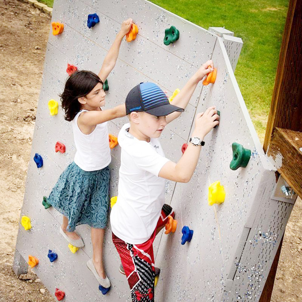 Plastic Children Kids Rock Climbing Wood Wall Stones Hand Feet Holds Grip Kits Screws Outdoor Game Training Toys Random Color