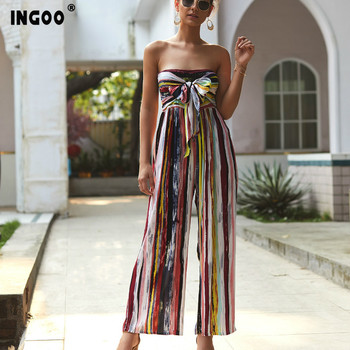 INGOO 2020 Spring Colorful Print Strapless Women Jumpsuit Summer Off Shoulder Sleeveless Coloured Drawing Lace Up Jumpsuits