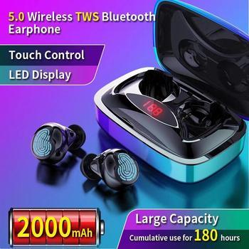 TWS Bluetooth 5,0 беспроводная гарнитура сенсорная кнопка шумоподавление Спортивная гарнитура портативный оснащен 2000 мАч СВЕТОДИОДНЫЙ монитор пи