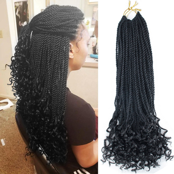 YxCheris 18 Inches Crochet Hair Senegalese Twist Curly Ends Synthetic Hair for Braid 30 Strands Braiding Hair Extensions aigemei crochet hair extension curly senegalese twist braid synthetic braiding hair 18 inch