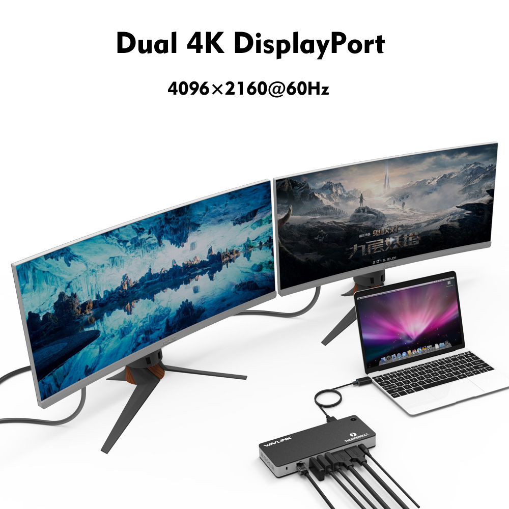Image 4 - Station daccueil Wavlink Thunderbolt 3 USB C double affichage vidéo 4K @ 60Hz 60W USB C alimentation pour MacBook pro certifié IntelStations daccueil ordinateur portable   -