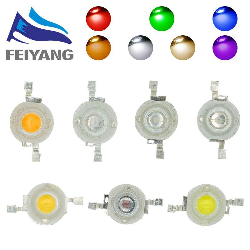 1000 stücke 1W LED High power Lampe perlen Reine Warme Weiß Rot Gelb Grün Blau 300mA 3,2-3,4 V 100-120LM 30mil