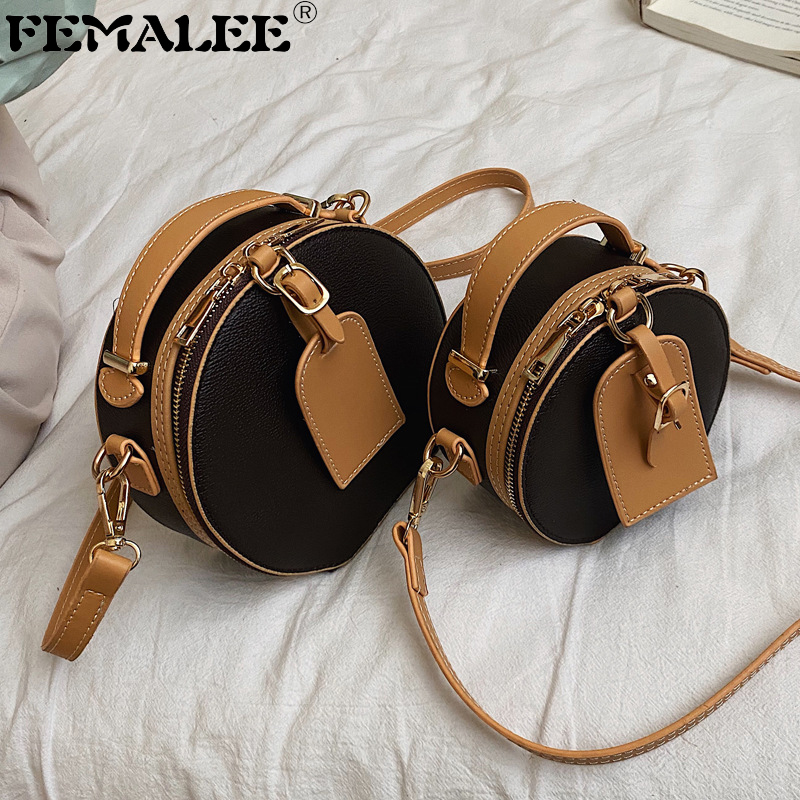 Small Circle PU Leather Handbag Contrast Fashion Shoulder Bag Lady Round Travel Tote Female Two-tone Crossbody Bag Lady Hand Bag
