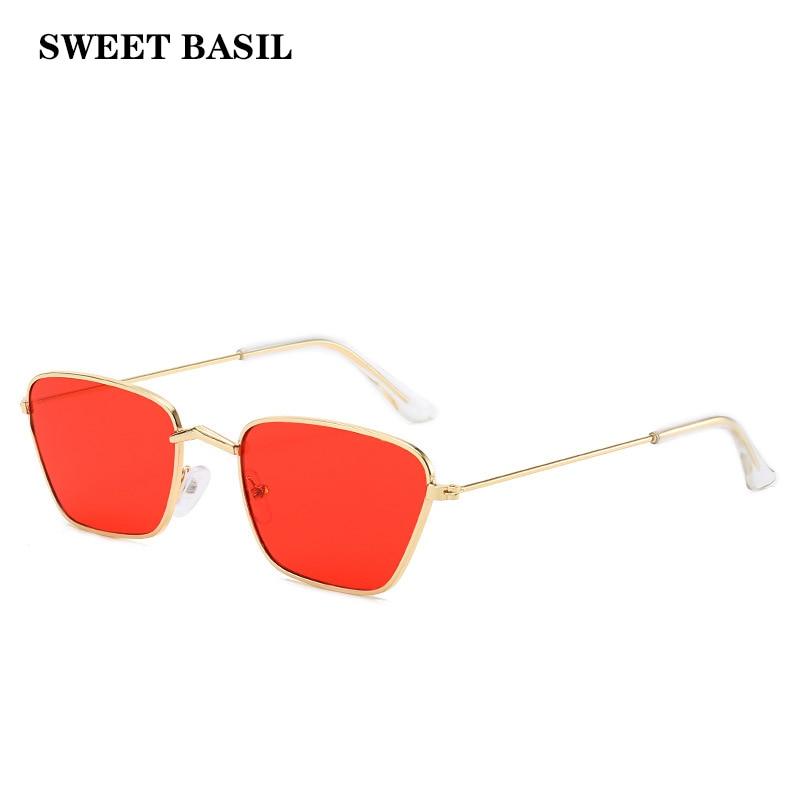 SWEET BASIL 2020 New Square Sunglasses Men Women Simple Metal Small Frame Sun Glasses Acrylic Ocean Lens Gradient Eyewear UV400