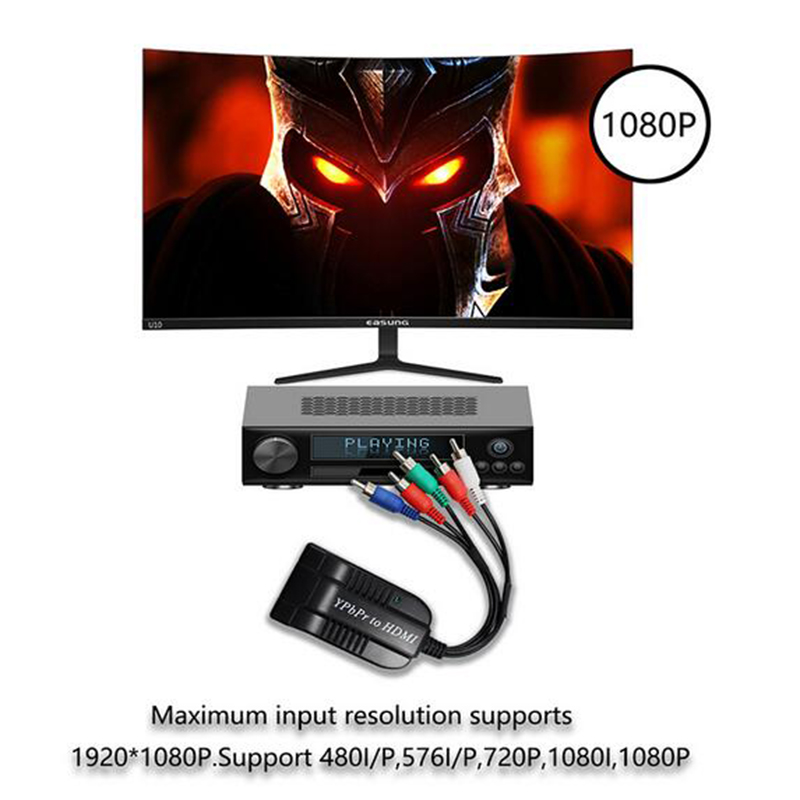 YPBPR To HDMI Converter, 5RCA Component RGB YPbPr To HDMI Converter Supports 1080P Video Audio Converter Adapter For DVD