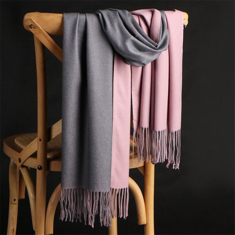 Luxury Brand Scarf 2019 NEW Winter Double-sided Cashmere Scarf Women Long Pashmina Female Sjaal Foulard Soft Shawl Tassel Scarfs