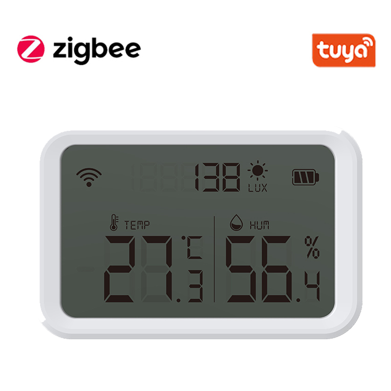 Tuya Zigbee Temperature Humidity Sensor And Lux Detector With LCD Screen Works With Google Assistant and Tuya Zigbee Hub