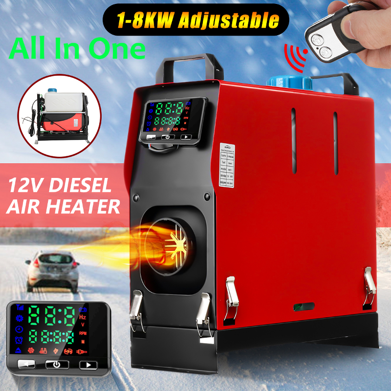 Hcalory All In One 1-8kW Air diesels Heater Red 8KW 12V One Hole Car Heater For Trucks Motor-Homes Boats Bus+LCD key Switch(China)