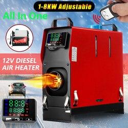 Hcalory Alle In Een 1-8kW Air Diesels Kachel Rood 8KW 12V Een Gat Auto Heater Voor Vrachtwagens Motor- woningen Boten Bus + Lcd Sleutelschakelaar
