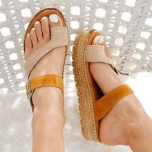 Сандалии женские тканевые с открытым носком, Повседневные Классические модные легкие светильник жные туфли, блокировка цвета, плоская подо...