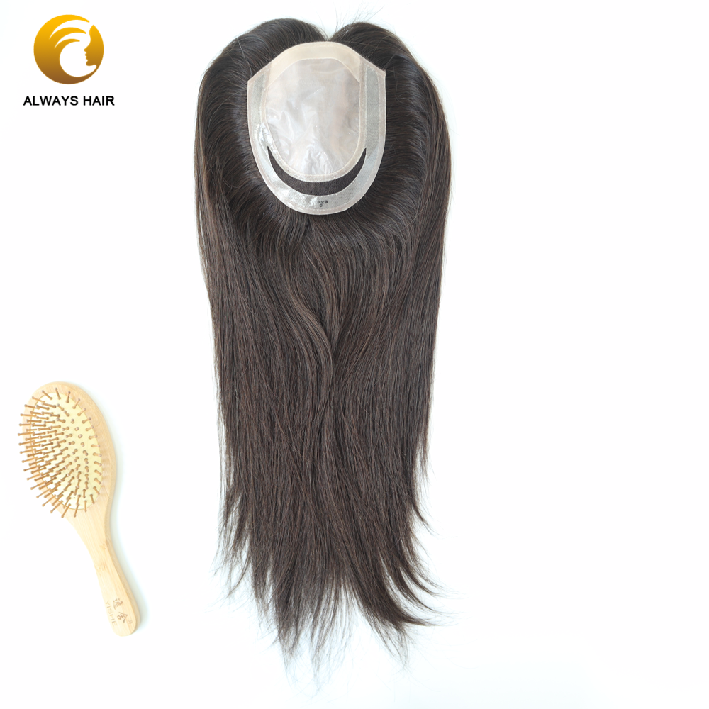 """Alwayshair TP29F 18"""" Silk Base Topper 120% Density Women Toupees Human Hair Straight Chinese Cuticle Remy Hair Topper Hairpieces"""