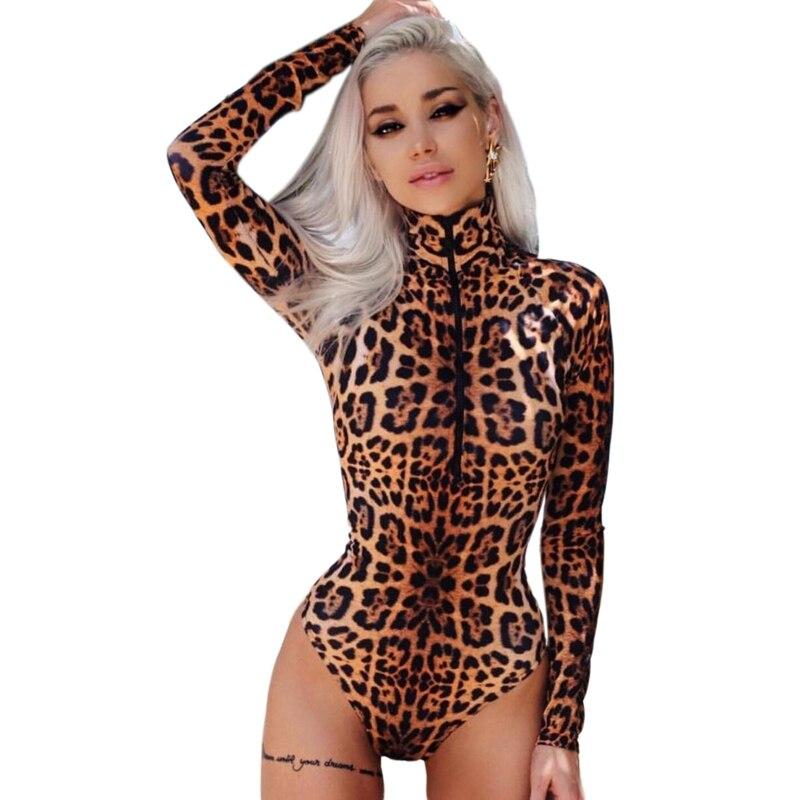 Women Leopard Bodysuit Autumn And Winter Zipper Placket High Collar Long Sleeve Short Romper Female Casual Skinny Street Bodysui