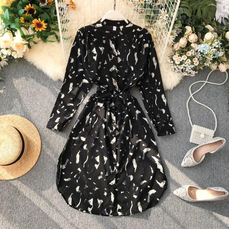 ربيع 2020 النسخة الكورية الجديدة من الرجعية طباعة منتصف طول الدانتيل متابعة كان رقيقة فستان بأكمام طويلة قميص