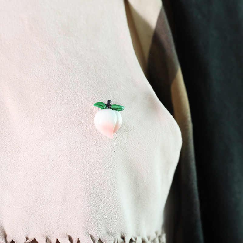 Blucome Mini Rosa Peach Spille a Forma di per Le Donne Tuta Sacchetto Del Partito Accessori di Moda Carino Cartone di Frutta Spilla Distintivo Spilli Regalo
