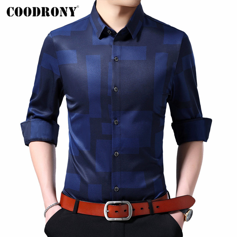 COODRONY Brand Men Shirt Business Casual Shirts Long Sleeve Shirt Men Clothes Streetwear Fashion Pattern Camisa Masculina 96107
