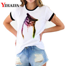 Stylish Women 3D Print T Shirts Elbow Owl Graphic Tees Fashion Lady Summer White Casual T-shirt Couple Short Sleeve Tops