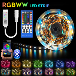 RGBWW LED Strip Light SMD 5050 10M 5M LED Lights Waterproof DC12V RGB Led tape diode ribbon Flexible APP Phone Control+adapter
