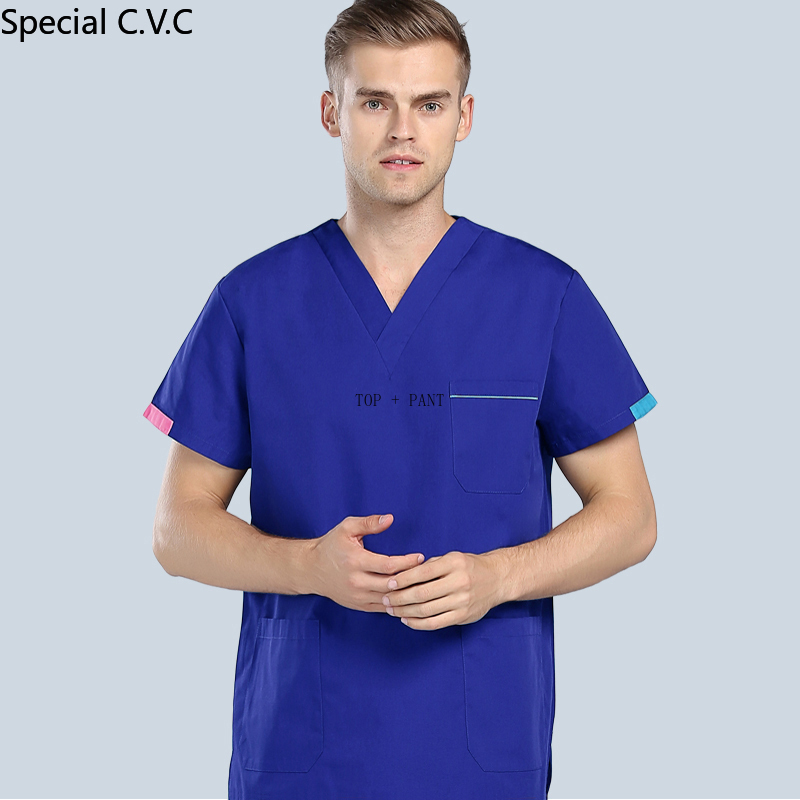 Men's Scrubs Set Color Blocking Design V-neck Short Sleeve Top + Pants Fashion Medical Uniforms Summer Pure Cotton Workwear