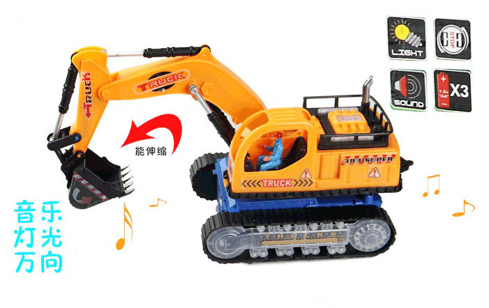 Children Electric Excavator Music Lights Universal Excavator Electric Engineering Car Toy Night Light Stall Supply Of Goods