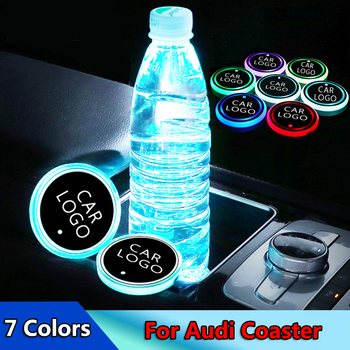 цена на 2pcs NEW Car Styling Luminous Logo Light LED Cup Drink Holder Anti Slip For Audi a5 a6 a8 Q5 Q7 b8 b6 c6 8p b7 Car Accessories