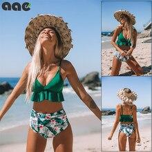 Sexy Floreale Orlo Increspato Bikini Set Donne Flora Con Scollo A V a vita Alta Due Pezzi Costume Da Bagno Della Ragazza Della Spiaggia Costume Da Bagno Costumi Da Bagno biquinis