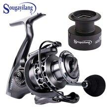 Sougayilang Metal Body Spinning Fishing Reel with Free Spare Spool 13+1BB 5.2:1 Gear Ratio Smooth EVA Handle Crap Fishing Reels