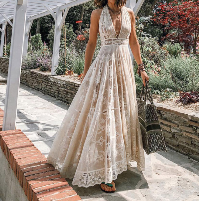 Summer New Fashion FanSexy Halter Lace Mesh Maxi Dress  Women Boho Long Maxi Dress  White Wedding Clothes  FZ003 2