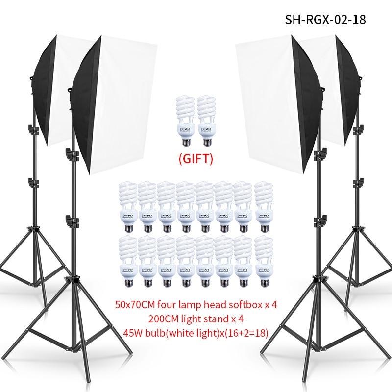 Photo Studio 45W Digital Photography Continuous Four Softbox Lighting Studio Video Portrait Kit 2