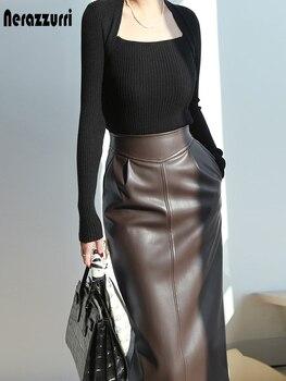 Nerazzurri Spring midi leather skirt women Brown white black long high waisted pencil skirts for women 2021 side slit zipper 7xl 1