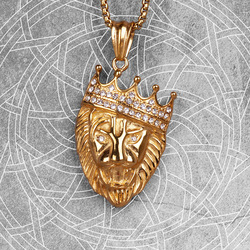 Gold Lion King Animal Mens Long Necklaces Pendants Chain HipHop for Boy Male Stainless Steel Jewelry Creativity Gift Wholesale