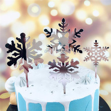 Hot Sale White Silver Snowflake Acrylic Cupcake Topper Birthday Wedding Christmas Party Baking Decoration  Props Supplies