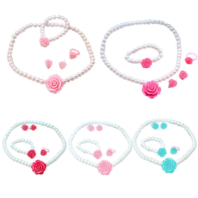 1 Set Fashion Cute Children Artificial Pearl Necklace Set Little Girls Pink Rosette Necklace Ring Ear Clips Princess Baby Jewelr