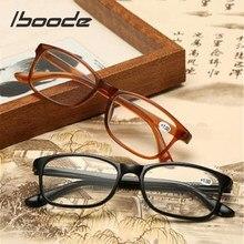 Iboode-gafas de lectura TR90 ultralivianas para hombres y mujeres, anteojos de presbicia cuadrados Vintage con dioptría + 1,0 1,5 2,0 2,5 3,0 3,5 4,0