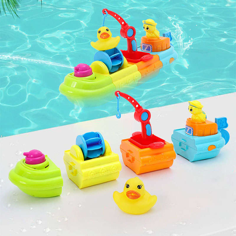Kids Assemble Water Spray Floating Ship Pool Beach Toys Funny Cartoon Bath Toys For Children's Educational Toys