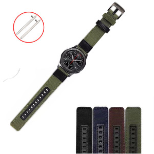 Quick Release 22mm Nylon with Leather Watch Band for Samsung S3 Jeep Pattern Canvas Watch Strap Universal Nylon Watchband