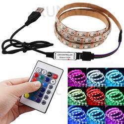 16 couleurs 5050 LED lumière de bande 5V USB rvb imperméable Flexible Led bande TV rétro lumières couleur changeante avec 24Key télécommande