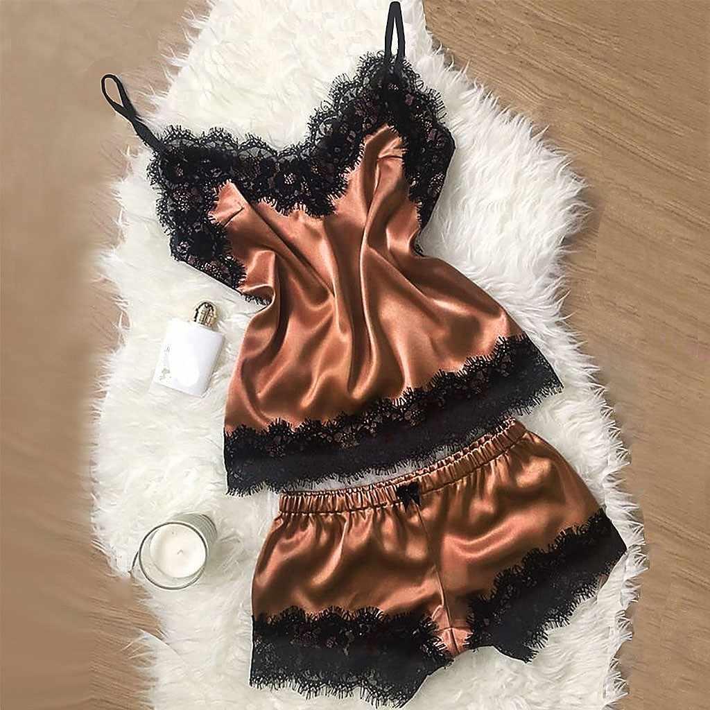2019 Baru Warna Seksi Pajamas Wanita Renda Polyester Satin Sutra Piyama Dua Peice Baju Tidur Wanita Pijama Godaan Erotis Pakaian Dalam Wanita