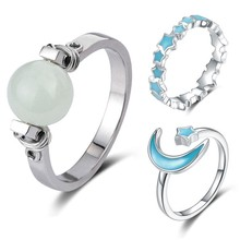 StrollGirl Hot Sale 100% 925 sterling silver Moon & Star Luminous Glowing stackable finger Ring for Women Anniversary Jewelry