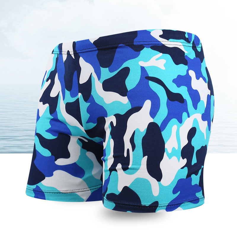 MEN'S Swimming Trunks Boxer Shorts Anti-Awkward Profession Swimming Training Men Camouflage Bathing Suit Yk4802