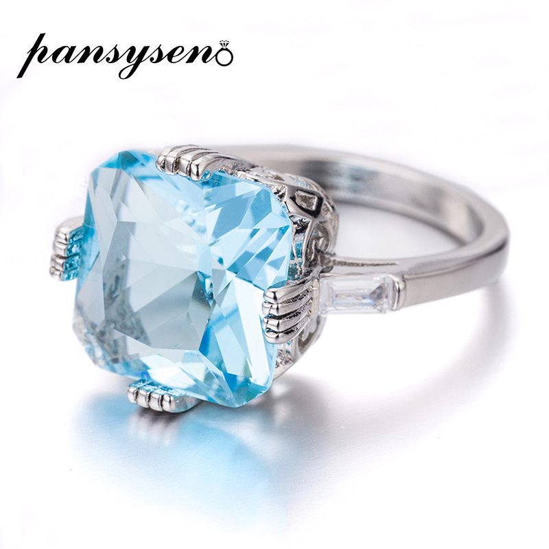 PANSYSEN Lady Exquisite Pure 925 Silver Aquamarine Rings for Women 12x12mm Square Gemstone Finger Ring Brand Valentine's Gift