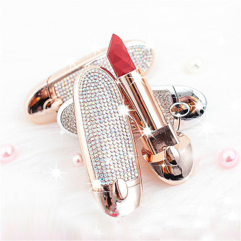 Waterproof Luxury Glitter Lipstick Crystal Decorative Lip Ribbon With Mirror
